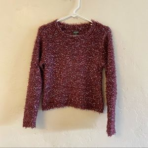 Wild Fable Maroon Speckled Cropped Sweater XS